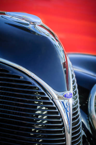 Wall Art - Photograph - 1938 Ford Hood Ornament - Grille Emblem -0089c by Jill Reger