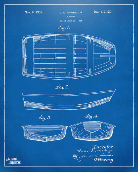 Sailors Digital Art - 1938 Rowboat Patent Artwork - Blueprint by Nikki Marie Smith