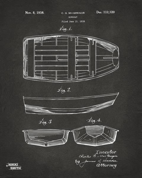 Sailors Digital Art - 1938 Rowboat Patent Artwork - Gray by Nikki Marie Smith