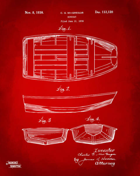 Sailors Digital Art - 1938 Rowboat Patent Artwork - Red by Nikki Marie Smith