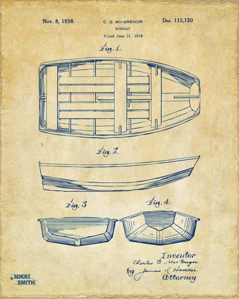 Sailors Digital Art - 1938 Rowboat Patent Artwork - Vintage by Nikki Marie Smith