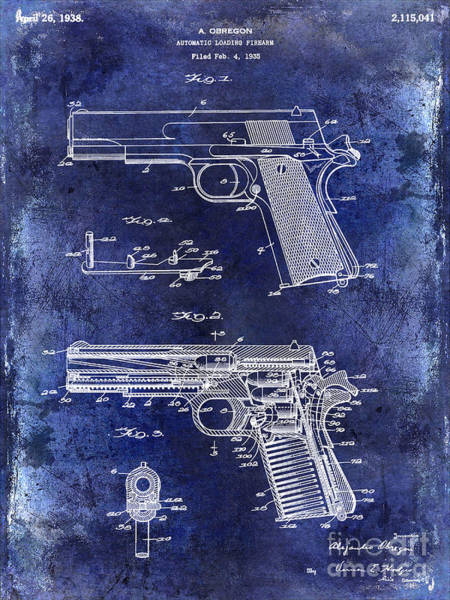 Wesson Photograph - 1938 Smith And Wesson Firearm Patent Drawing Blue by Jon Neidert