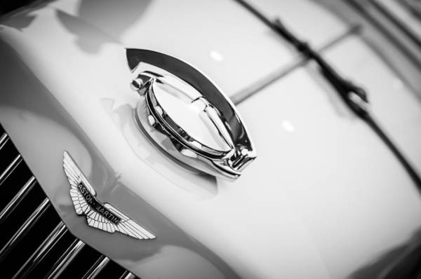 Photograph - 1939 Aston Martin 15-98 Abbey Coachworks Swb Sports Grille Emblem  -1267bw by Jill Reger