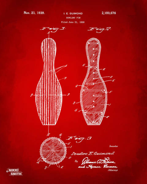 Bowling Ball Wall Art - Digital Art - 1939 Bowling Pin Patent Artwork - Red by Nikki Marie Smith