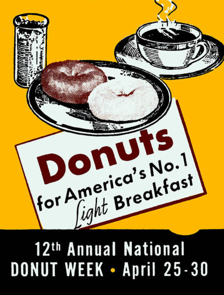 Doughnut Painting - 1940 Donut Poster by Historic Image