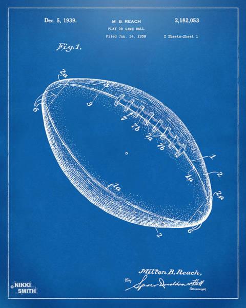 American Football Digital Art - 1939 Football Patent Artwork - Blueprint by Nikki Marie Smith