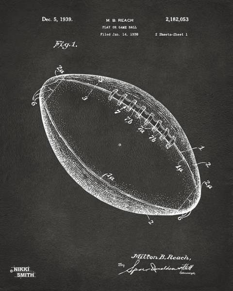 American Football Digital Art - 1939 Football Patent Artwork - Gray by Nikki Marie Smith