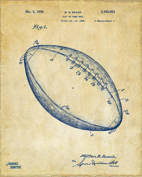 Den Digital Art - 1939 Football Patent Artwork - Vintage by Nikki Marie Smith