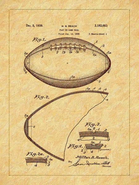 Photograph - 1939 Football Patent by Barry Jones