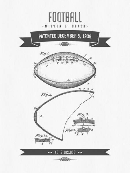 Gridiron Digital Art - 1939 Football Patent Drawing - Retro Gray by Aged Pixel