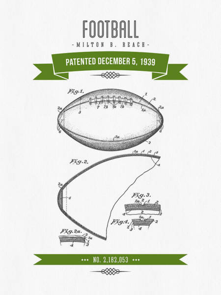 Gridiron Digital Art - 1939 Football Patent Drawing - Retro Green by Aged Pixel