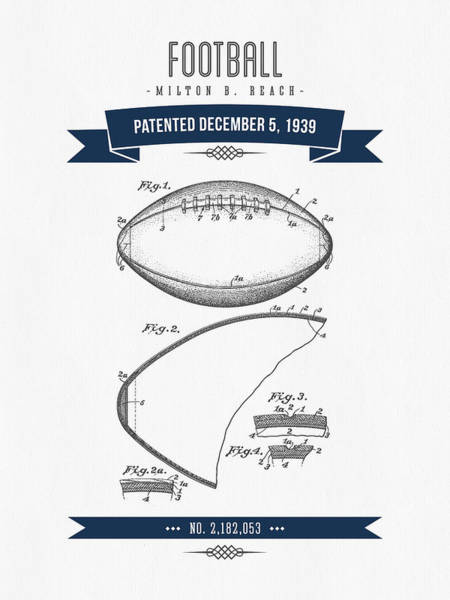 Gridiron Digital Art - 1939 Football Patent Drawing - Retro Navy Blue by Aged Pixel