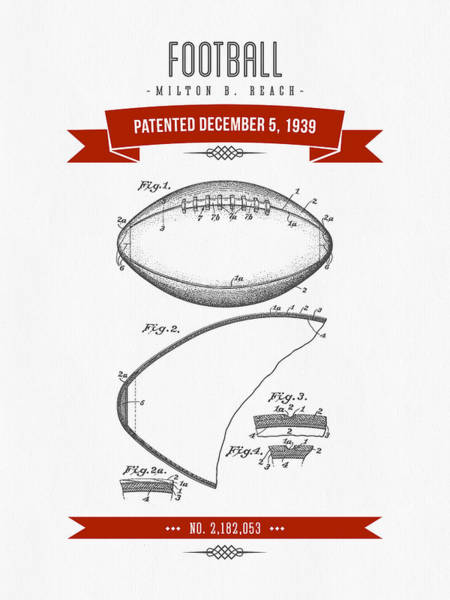 Gridiron Digital Art - 1939 Football Patent Drawing - Retro Red by Aged Pixel