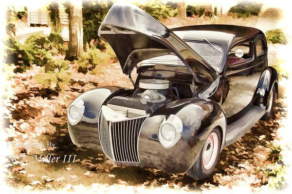 Painting - 1939 Ford Sedan Antique Classic Car Painting 3417.02 by M K Miller