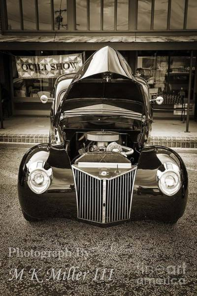 Photograph - 1939 Ford Sedan Classic Car Front End In Sepia 3413.01 by M K Miller