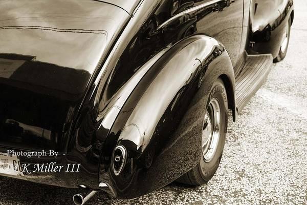 Photograph - 1939 Ford Sedan Classic Car Rear Fender In Sepia 3416.01 by M K Miller