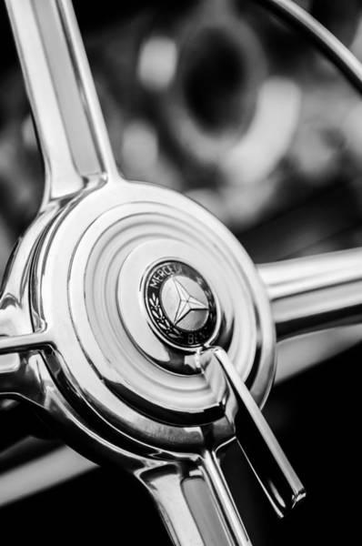 Wall Art - Photograph - 1939 Mercedes-benz 540k Special Roadster Steering Wheel -1284bw by Jill Reger