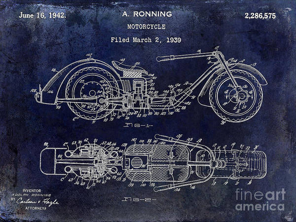 Victory Motorcycle Photograph - 1939 Motorcycle Patent Drawing Blue by Jon Neidert