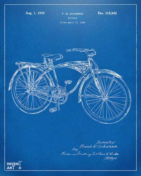 Wall Art - Digital Art - 1939 Schwinn Bicycle Patent Artwork Blueprint by Nikki Marie Smith