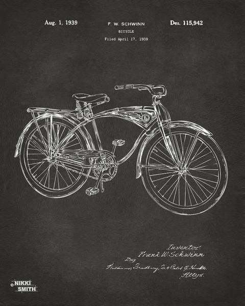 Wall Art - Digital Art - 1939 Schwinn Bicycle Patent Artwork - Gray by Nikki Marie Smith