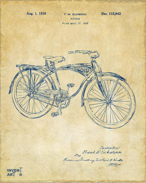 Bike Wall Art - Digital Art - 1939 Schwinn Bicycle Patent Artwork Vintage by Nikki Marie Smith