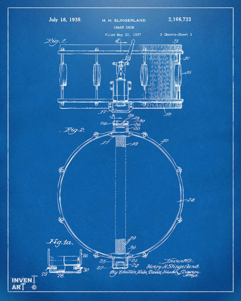 Digital Art - 1939 Snare Drum Patent Blueprint by Nikki Marie Smith