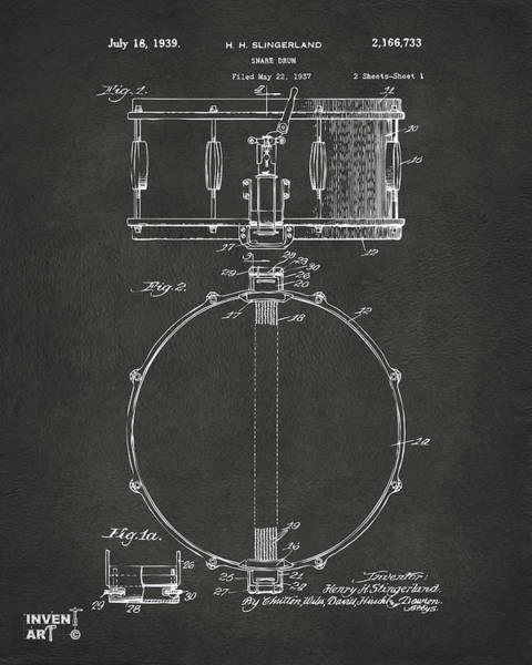 Digital Art - 1939 Snare Drum Patent Gray by Nikki Marie Smith