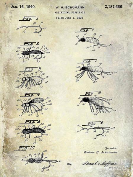 1940 Artificial Fishing Bait Patent Drawing Art Print