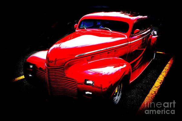 Photograph - 1940 Chevrolet Master Fine Art Classic Car Automobile Color Red  by M K Miller
