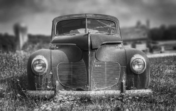 Vehicles Photograph - 1940 Desoto Deluxe Black And White by Scott Norris