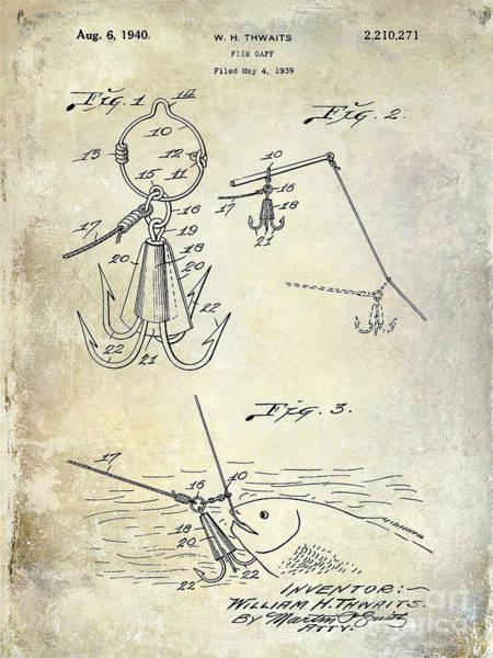 1940 Fishing Gaff Patent Drawing Art Print