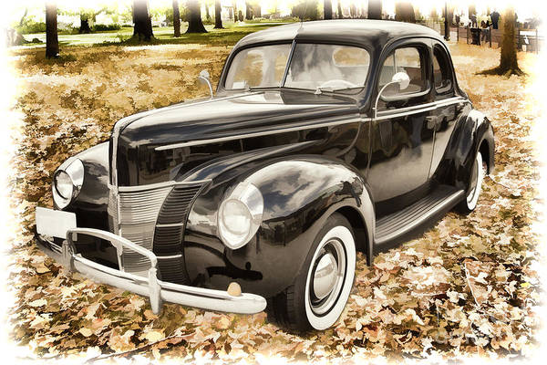 Painting - 1940 Ford Classic Car Antique Automobile Painting Photograph In  by M K Miller