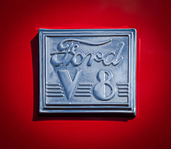1940 Ford Coupe Photograph - 1940 Ford Coupe V8 Emblem by Jill Reger