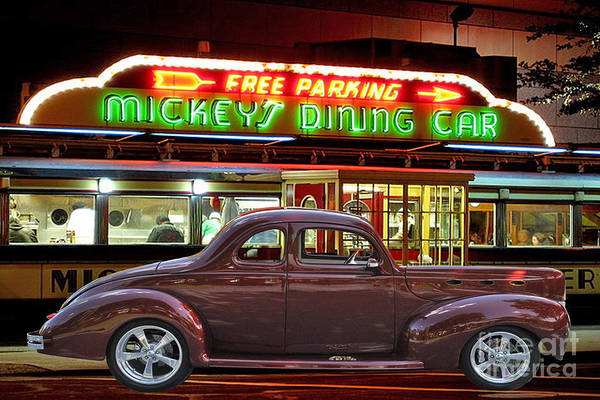 Photograph - 1940 Ford Deluxe Coupe At Mickeys Dinner  by Gary Keesler