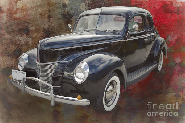 Painting - 1940 Ford Deluxe Photograph Of Classic Car Painting In Color 319 by M K Miller