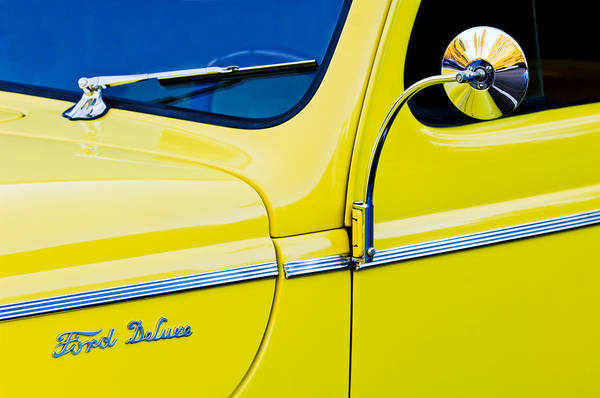 Photograph - 1940 Ford Deluxe Side Emblem by Jill Reger