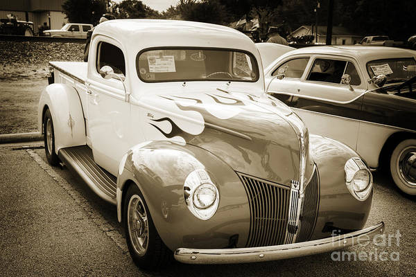 Photograph - 1940 Ford Pickup Truck Car Or Automobile In Sepia  3137.01 by M K Miller