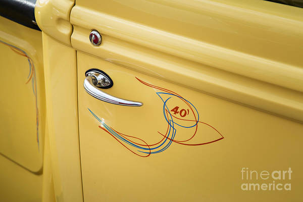 Photograph - 1940 Ford Pickup Truck Door Handle Car Or Automobile In Color  3 by M K Miller