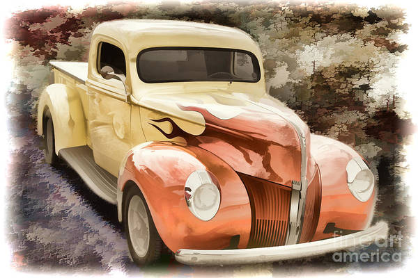 Painting - 1940 Ford Pickup Truck Painting Car Or Automobile In Color  3133 by M K Miller
