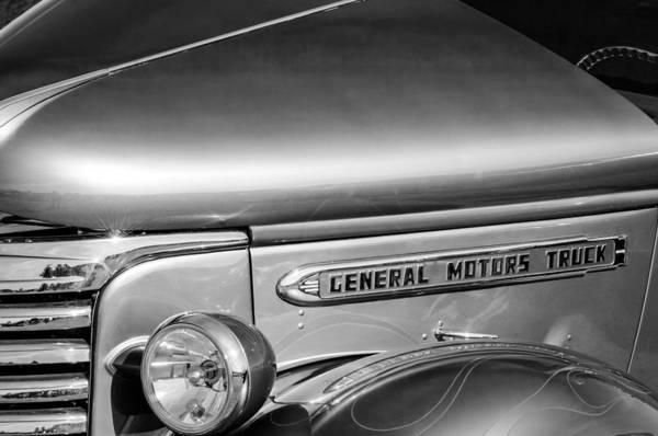 Photograph - 1940 Gmc Side Emblem -0378bw by Jill Reger