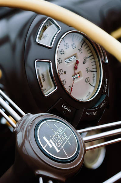 Lincoln Continental Photograph - 1938 Lincoln-zephyr Continental Cabriolet Steering Wheel Emblem -1817c by Jill Reger