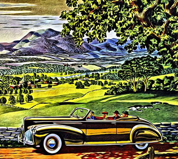 Painting - 1940 Lincoln Zephyr Convertible Ad by Florian Rodarte