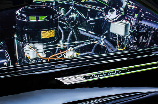 Photograph - 1940 Lincoln-zephyr Convertible Emblem - Engine by Jill Reger