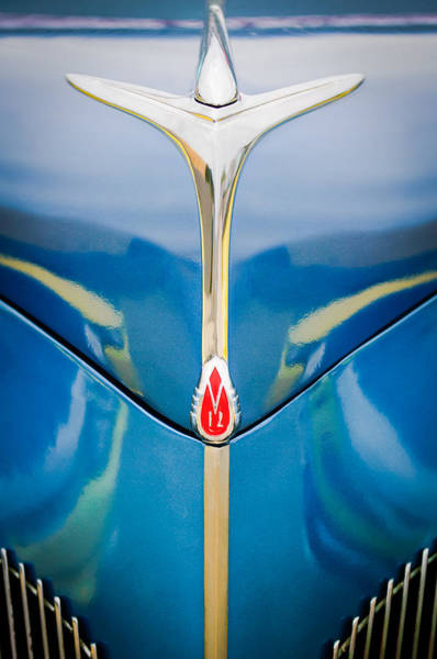 Photograph - 1940 Lincoln Zephyr Grille Emblem - Hood Ornament by Jill Reger