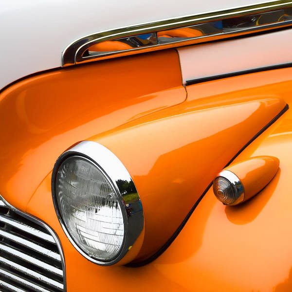 1940 Photograph - 1940 Orange And White Chevrolet Sedan by Carol Leigh
