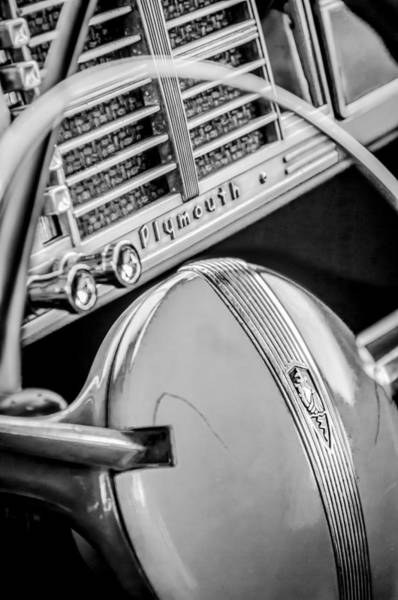 Photograph - 1940 Plymouth Deluxe Woody Wagon Steering Wheel Emblem -0116bw by Jill Reger