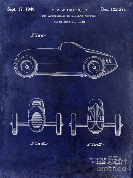 Wall Art - Photograph - 1940 Toy Car Patent Drawing Blue by Jon Neidert