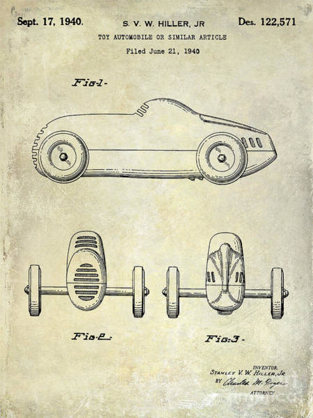 Wall Art - Photograph - 1940 Toy Car Patent Drawing by Jon Neidert