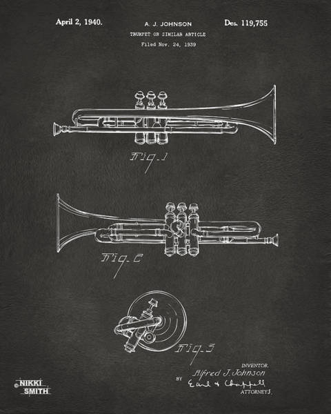 Marching Digital Art - 1940 Trumpet Patent Artwork - Gray by Nikki Marie Smith