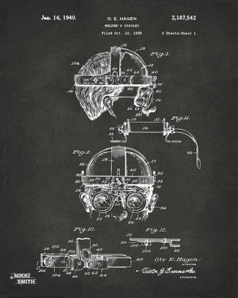 Punk Digital Art - 1940 Welders Goggles Patent Artwork - Gray by Nikki Marie Smith